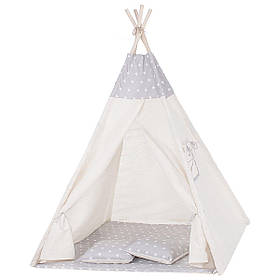 Детская палатка вигвам Springos Tipi Xxl White/Grey SKL41-277683