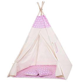 Детская палатка вигвам Springos Tipi Xxl White/Pink SKL41-277685
