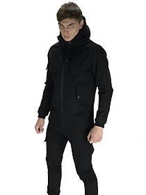 Чоловічий костюм Softshell чорний демісезонний. Куртка чоловіча, штани утеплені Ключниця в подарунок SKL59-259556