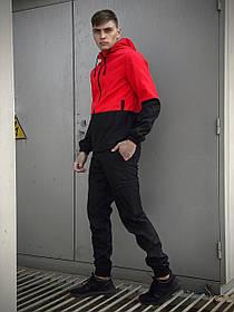 Чоловічий костюм червоно-чорний демісезонний Softshell Light Куртка чоловіча червона, штани сині чорні