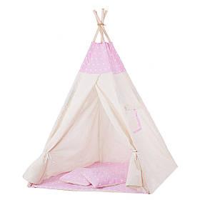 Детская палатка вигвам Springos Tipi Xxl White/Pink SKL41-277687