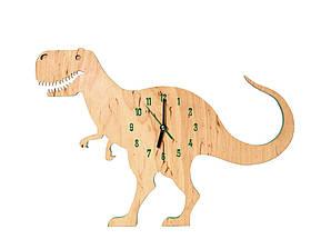 Дитячі дерев'яні годинник дизайнерські Динозавр Ручна Робота ТМ Просто і Легко 40на28на3 см SKL12-265762