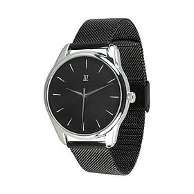 Часы Ziz Белым по черному, ремешок из нержавеющей стали черный и дополнительный ремешок SKL22-142796