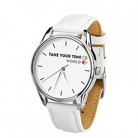 Годинник Ziz Вимкни світ з додатковим ремінцем, ремінець кокосово-білий, срібло SKL22-228863