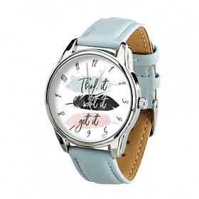 Годинник Ziz Думай Бажай Отримуй з додатковим ремінцем, ремінець ніжно-блакитний, срібло SKL22-228866