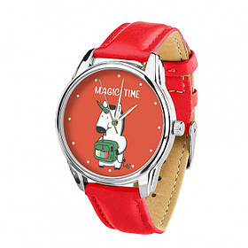 Часы Ziz Единорог с дополнительным ремешком, ремешок маково-красный, серебро SKL22-228867