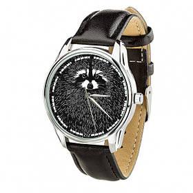 Годинник Ziz Єнот, ремінець насичено-чорний, срібло і додатковий ремінець SKL22-142643