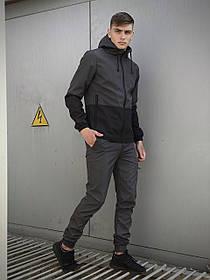 Чоловічий костюм сіро-чорний демісезонний Softshell Light Куртка чоловіча сіра, сині штани чорні SKL59-259500