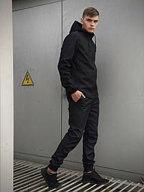Чоловічий костюм чорний демісезонний Softshell Light Куртка чоловіча чорна, штани сині чорні сірі