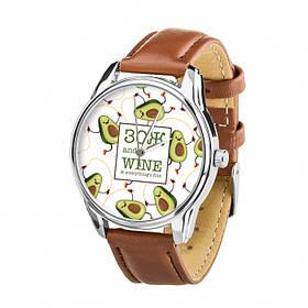 Годинник Ziz Зсж, ремінець кавово-шоколадний, срібло і додатковий ремінець SKL22-228871