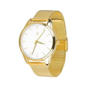Годинник Ziz Золотим по білому, ремінець з нержавіючої сталі золото і додатковий ремінець SKL22-142797