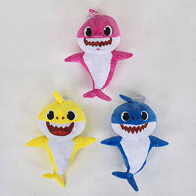 М'яка Іграшка герої мультфільму Baby Shark, зі світловими і звуковими ефектами, жовта 25 см SKL11-184608