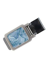 Зажим для денег DM 01 Мрамор голубой синий SKL47-177294