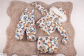 Детский зимний комбинезон тройка с принтом белый SKL11-260916