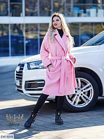Пальто кашемировое женское розовое SKL11-289533