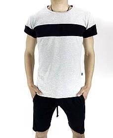 Комплект летний Футболка Color Stripe серая - черная и Шорты трикотажные черные SKL59-259630