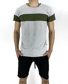 Комплект летний Футболка Color Stripe серая- хаки и Шорты трикотажные черные SKL59-259629