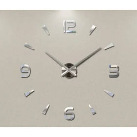 Годинники настінні 3D Diy ZH034 Великі Срібло SKL11-240775