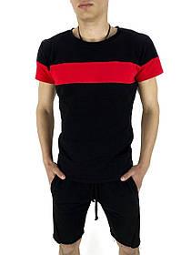 Комплект літній Футболка Color Stripe чорна - краснаяи Шорти трикотажні чорні SKL59-259628