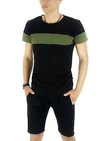 Комплект летний Футболка Color Stripe черная - хаки и Шорты трикотажные черные SKL59-259631