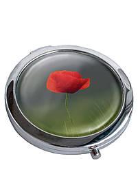 Зеркальце косметическое DM 01 Алый мак зеленое SKL47-176855