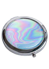 Зеркальце косметическое DM 01 Голография голубое SKL47-176834