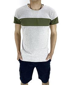 Комплект Футболка Color Stripe серая - хаки и Шорты Miami синие SKL59-259620