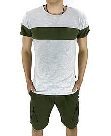 Комплект Футболка Color Stripe серая - хаки и Шорты Miami хаки SKL59-259621