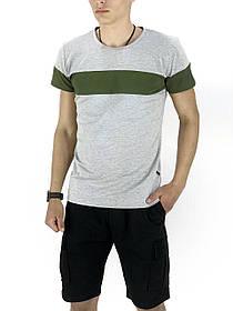 Комплект Футболка Color Stripe серая - хаки и Шорты Miami Черные SKL59-259614