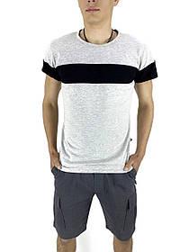 Комплект Футболка Color Stripe серая - черная и Шорты Miami серые SKL59-259627