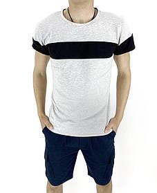 Комплект Футболка Color Stripe серая - черная и Шорты Miami синие SKL59-259618