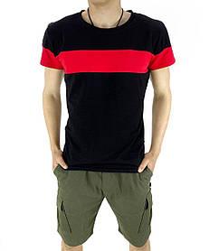 Комплект Футболка Color Stripe черная - красная и Шорты Miami хаки SKL59-259623