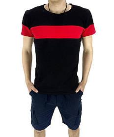 Комплект Футболка Color Stripe черная - красный и Шорты Miami синие SKL59-259626