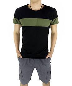 Комплект Футболка Color Stripe черная - хаки и Шорты Miami серые SKL59-259625