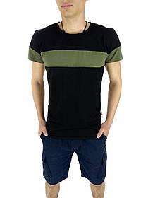 Комплект Футболка Color Stripe черная - хаки и Шорты Miami синие SKL59-259619