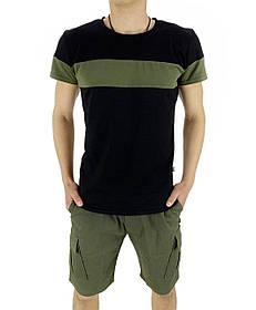 Комплект Футболка Color Stripe черная - хаки и Шорты Miami хаки SKL59-259624