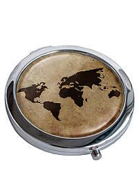 Дзеркальце косметичне DM 01 Карта світу коричневе SKL47-176841