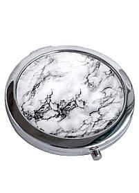 Зеркальце косметическое DM 01 Мрамор белый белое SKL47-176838