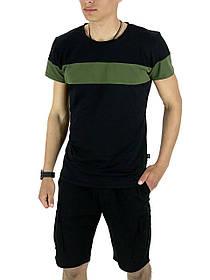 Комплект Футболка Color Stripe черная - хаки и Шорты Miami Черные SKL59-259613