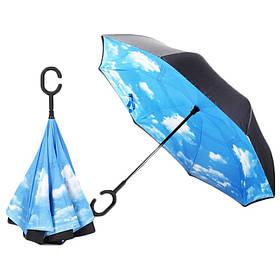 Зонт навпаки, розкладний з хмарами Umbrella U2 SKL25-149736