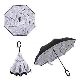 Зонт зворотного складання Up-Brella біла газета SKL11-187146