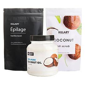 Набор Hillary рафинированное кокосовое масло 500мл, Epilage Original 200г и кокосовый скраб 200г SKL11-240756