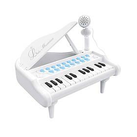 Детское пианино синтезатор Baoli с микрофоном 24 клавиши белое SKL17-223458