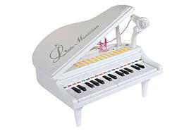 Детское пианино синтезатор Baoli с микрофоном 31 клавиши белое SKL17-223460