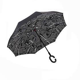 Зонт обратного сложения Up-Brella черная газета SKL11-187147