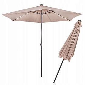 Зонт садовый с Led подсветкой Springos автономная бежевый 300 см GU0006 SKL41-252504