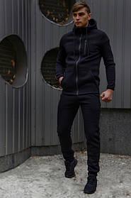 Спортивний костюм чоловічий чорний утеплений флисоми і ключниця в подарунок SKL59-283358