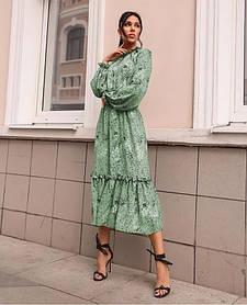 Сукня з гумкою на горловині і на манжетах оливкова SKL11-290776