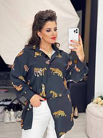 Сукня-сорочка софт чорне з принтом SKL11-289846