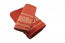 Набір махрових рушників Parisa Бамбук бавовняні 50х90, 70х140 морквяний SKL53-240099